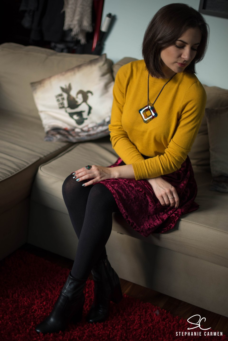 yellow-sweater-burgundy-skirt